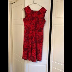 Lands end red dress sleeveless 10P